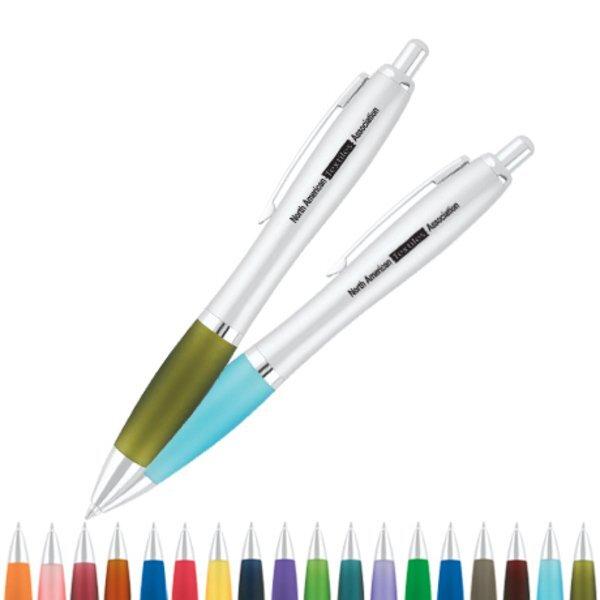 Curvaceous Silver Matte Ballpoint Pen