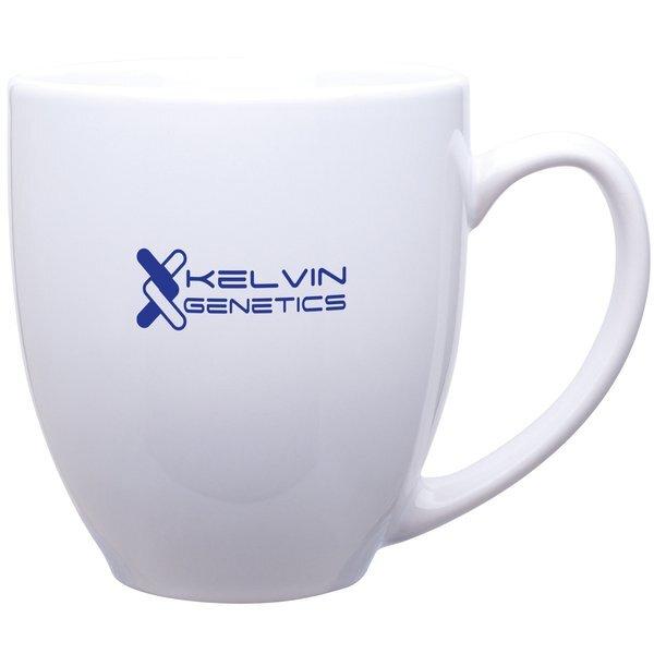 Glossy Ceramic Bistro Mug, 15 oz. - White & Natural