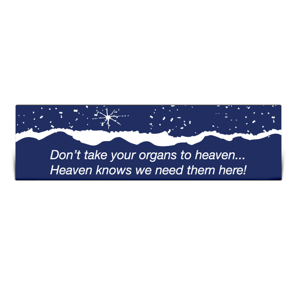 Don't Take Your Organs to Heaven Bumper Sticker, Stock