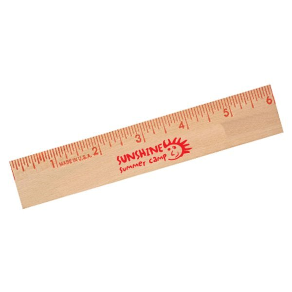 Natural Finish Flat Wood Ruler, 6""