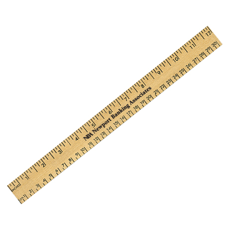 """Clear Lacquer Wood Ruler with Both Scales, 12"""""""