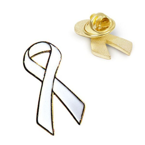 White Ribbon Lapel Pin