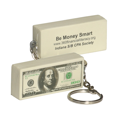 One-Hundred Dollar Bill Stress Reliever Key Chain