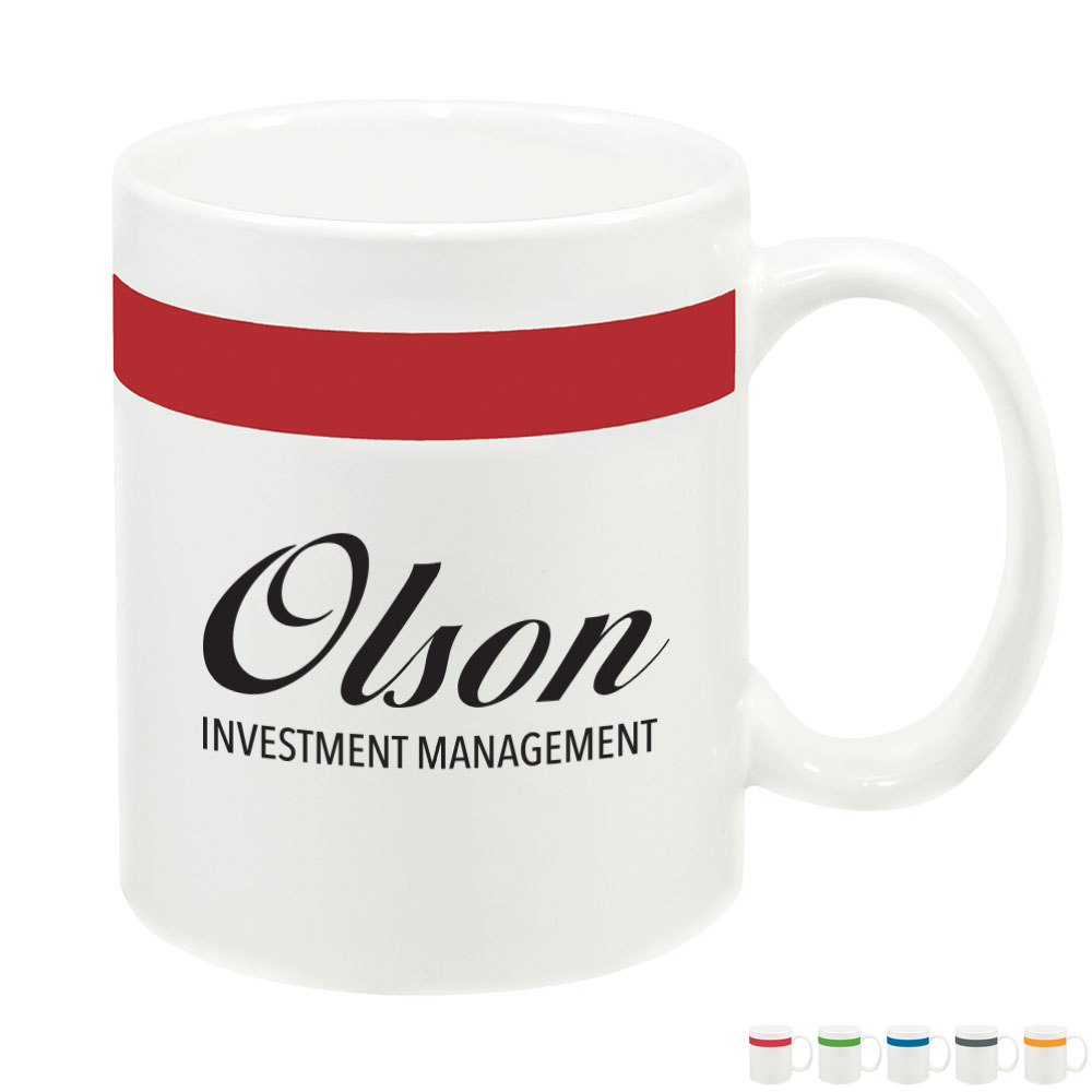 Color Stripe Ceramic Mug, 11oz.