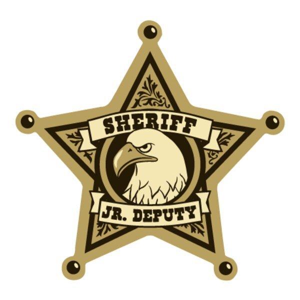 Junior Deputy 5 Point Sheriff Foil Sticker Badge, Stock