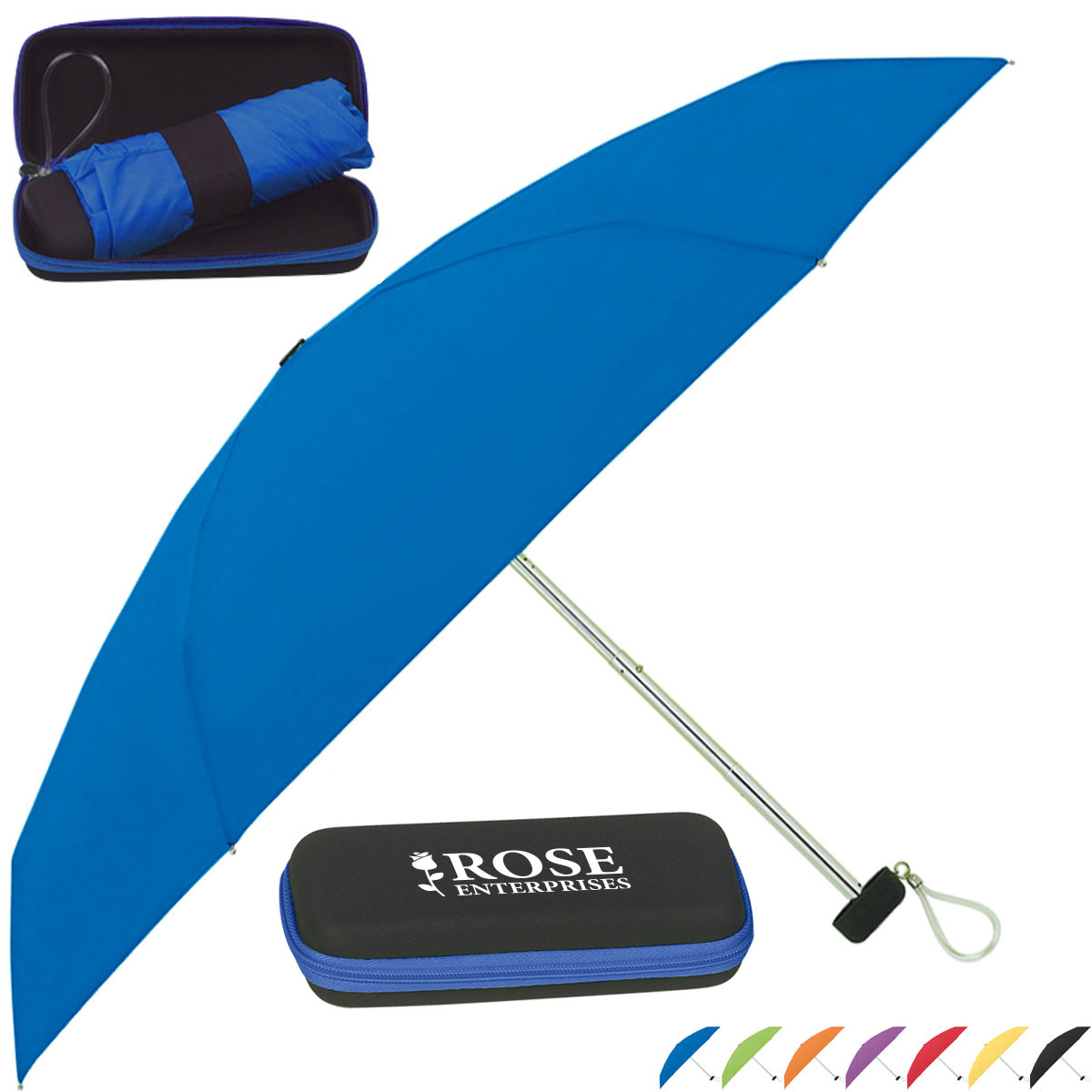 "Folding Travel Umbrella with Case, 37"" Arc"