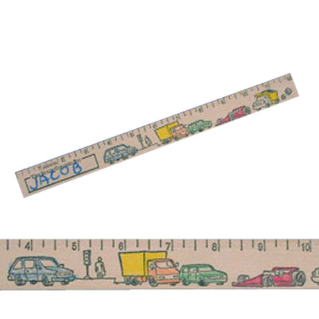 "Color-Me Natural Finish Ruler, 12"" - Cars & Trucks Theme"