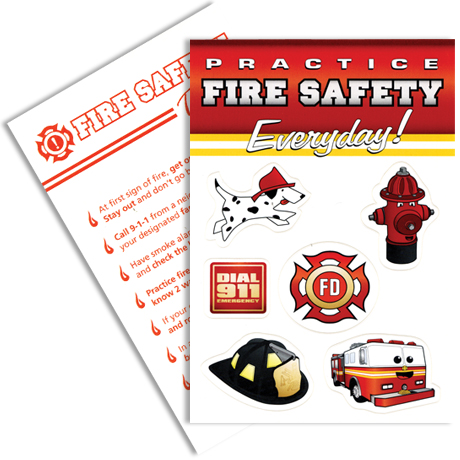 Fire Safety Sticker Sheet, Stock