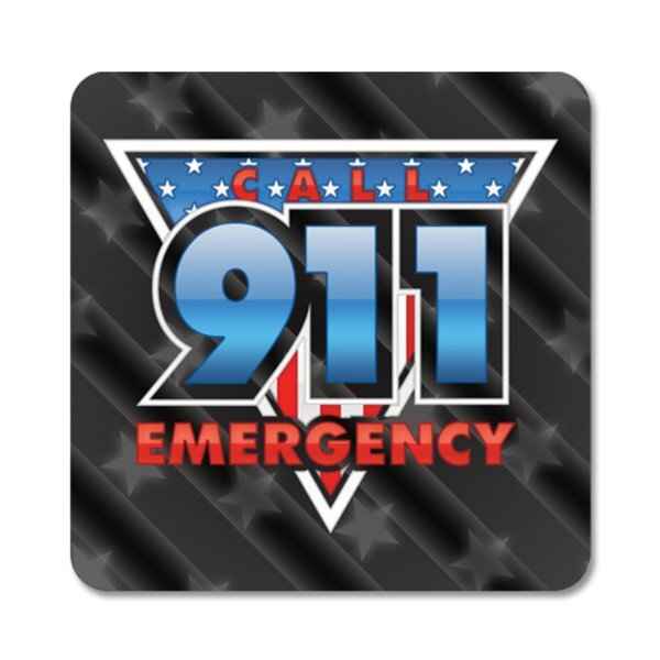 Call 911 Emergency Sticker Roll, Stock