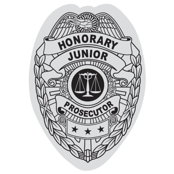 Junior Prosecutor Foil Sticker Badge, Stock