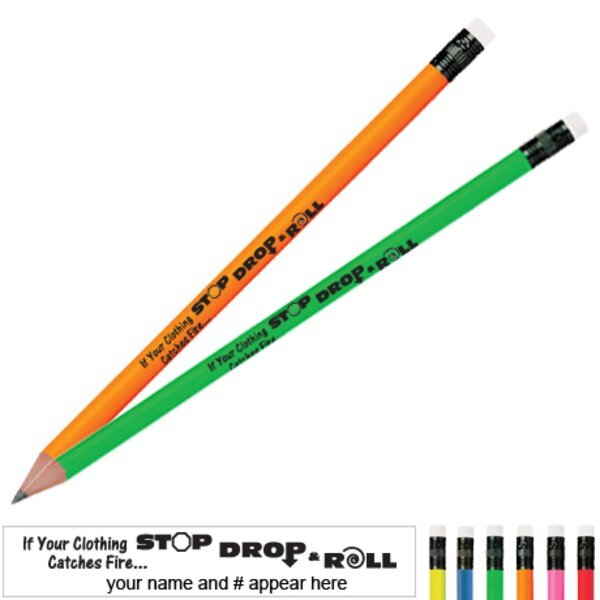Stop Drop and Roll Neon Pencil
