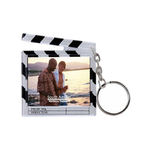 Clapboard Snap-In Photo Keytag, White