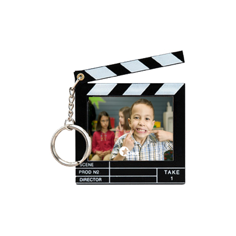 Clapboard Snap-In Photo Keytag, Black