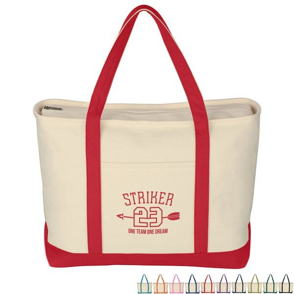 Large Heavy Cotton Canvas Zippered Boat Tote
