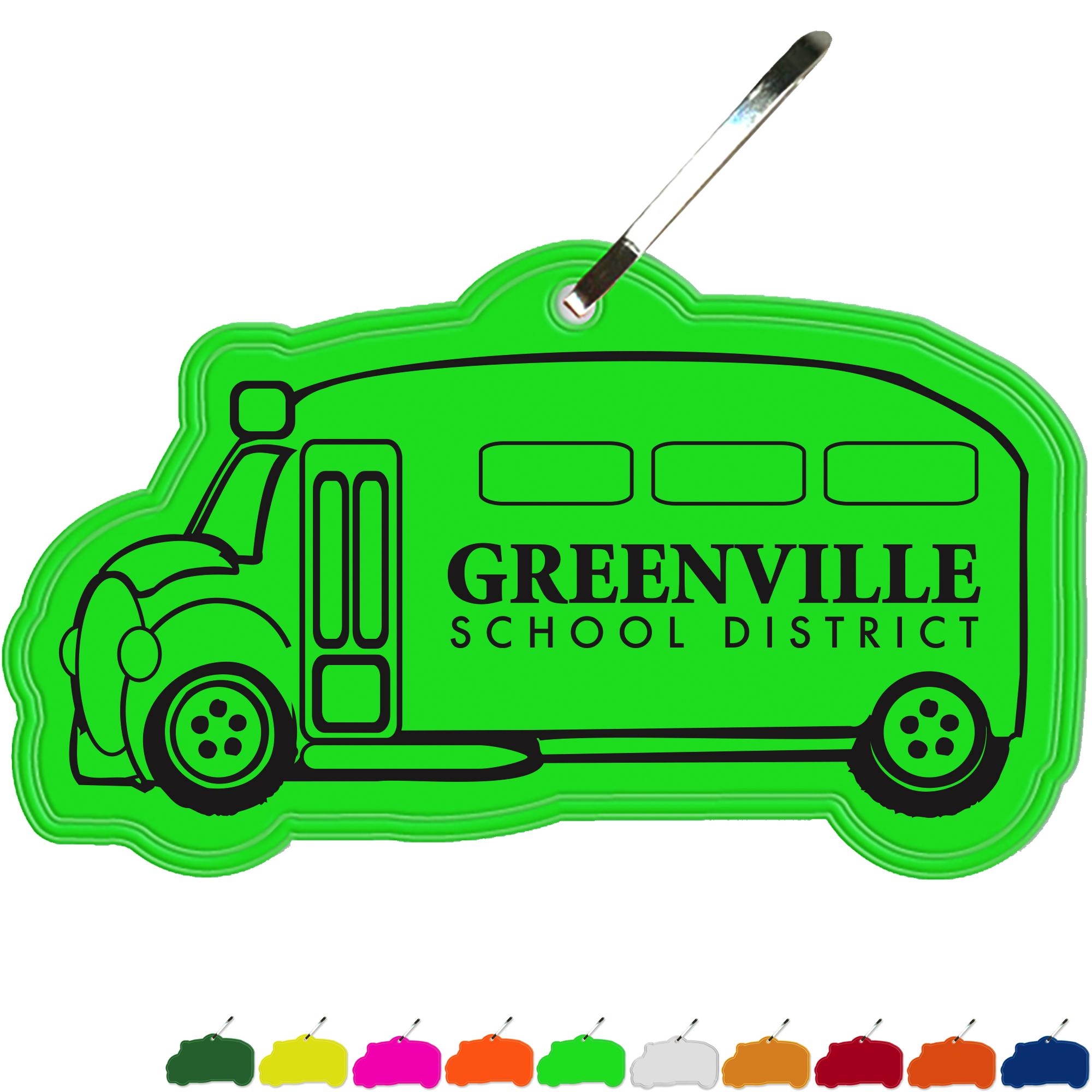 Reflective Hook Zipper Pull, School Bus