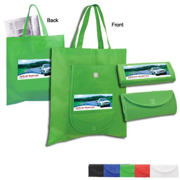 Non-Woven Fold n Go Tote w/ Full Color Imprint