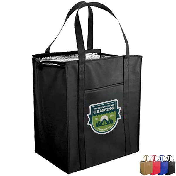 Large Insulated Non-Woven Grocery Shopper, Full Color
