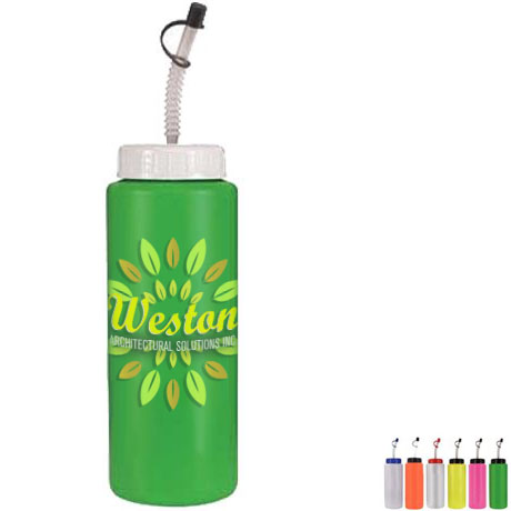 Sports Bottle w/ Flex Straw, 32oz. w/ Full Color Imprint