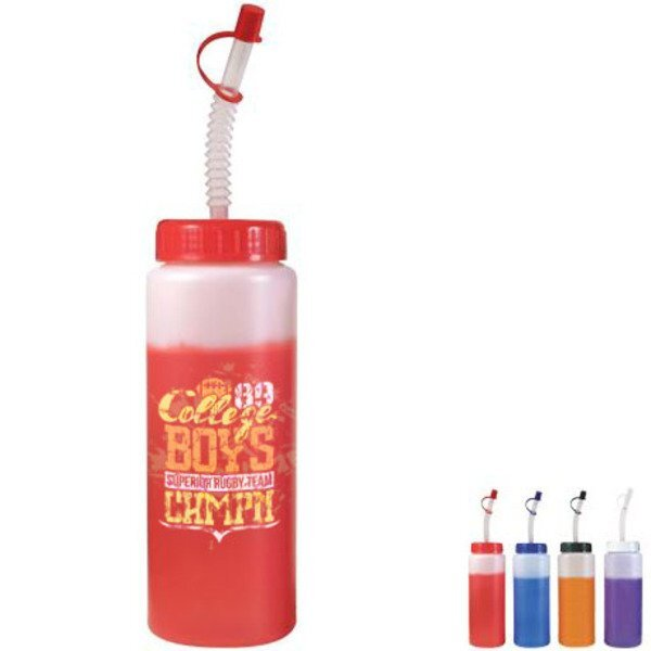 Mood Sports Bottle w/ Flexible Straw, 32oz. w/ Full Color Imprint