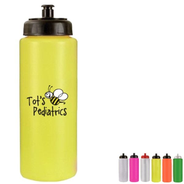 Sports Bottle w/Push Pull Cap, 32oz. w/ Full Color Imprint