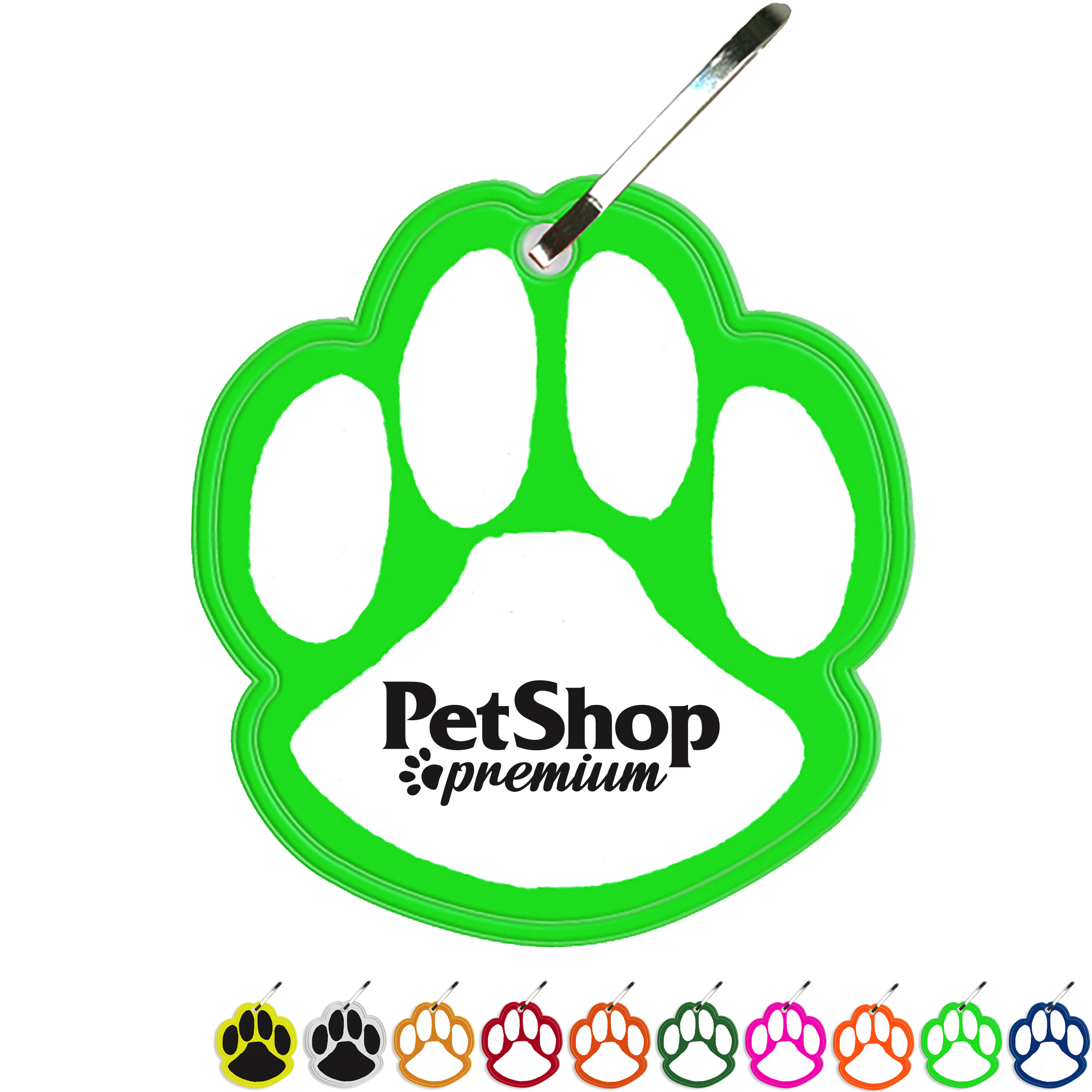 Reflective Hook Zipper Pull, Paw Print