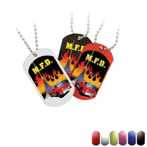 "Metal Dog Tag w/ 23-1/2"" Chain, Full Color Imprint"