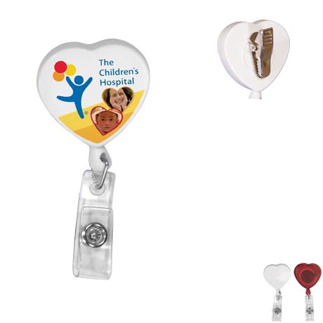 Heart Retractable Badgeholder, Alligator Clip -  Full Color