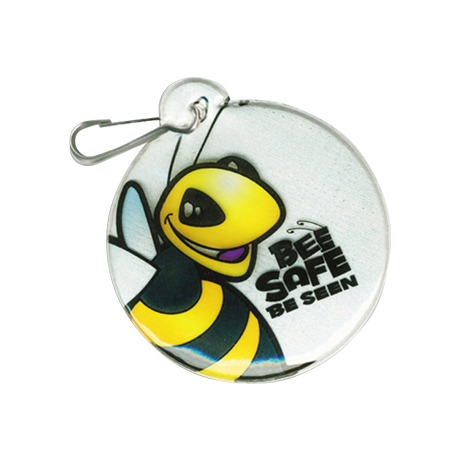 Bee Safe Be Seen Reflective Hook Zipper Pull, Small Circle - Stock