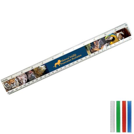 """Beveled Plastic Ruler, 12"""" Full Color"""