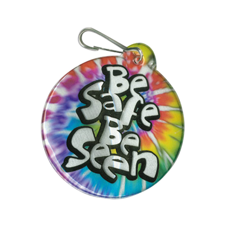 Be Safe Be Seen Reflective Hook Zipper Pull, Small Circle - Stock
