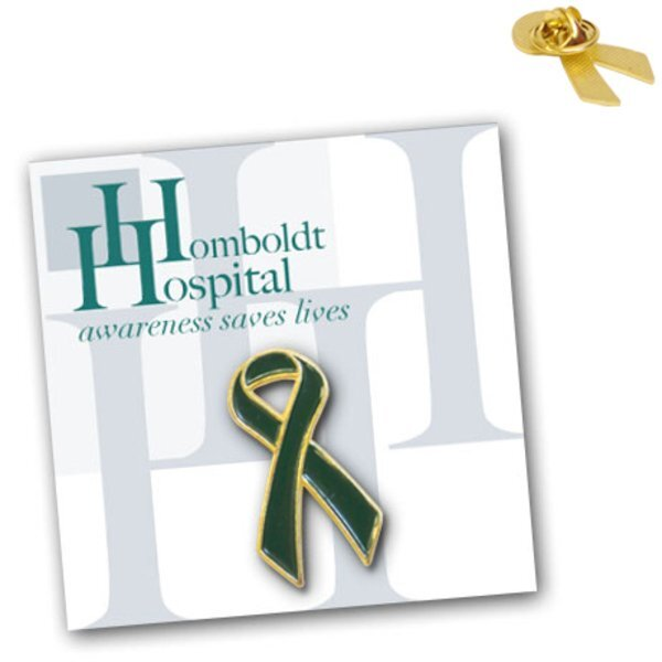 Green Ribbon Pin on Custom Card