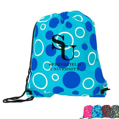 Doodle Polyester Drawstring Tote, Circles Design