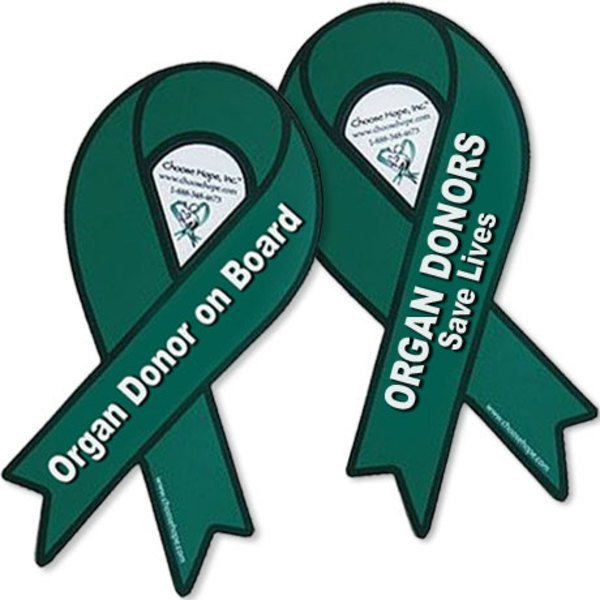Green Ribbon Organ Donation Auto Magnet, Custom