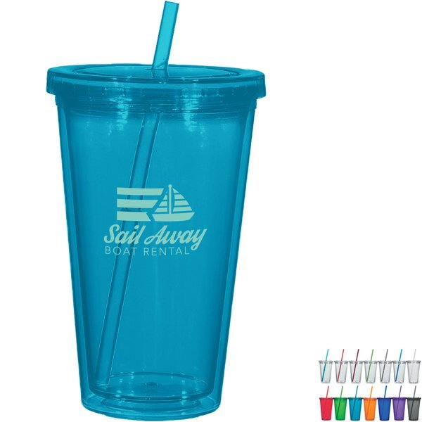Newport Double Wall Acrylic Tumbler with Straw, 16oz., BPA Free