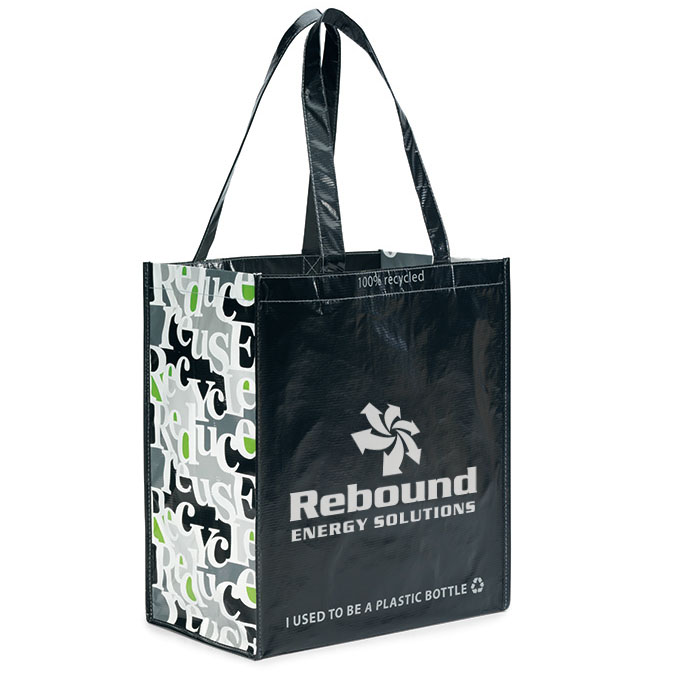 Laminated 100% Recycled Shopper, Black Design