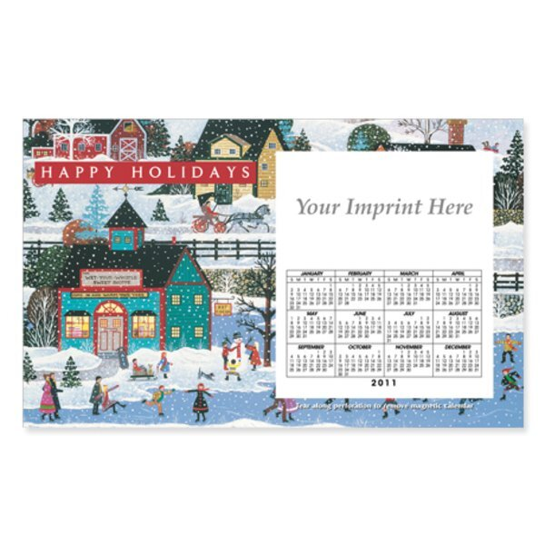 Perforated Postcard Magnet -  Holiday Folk Art