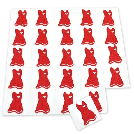 Peel-and-Stick Embroidered Women's Heart Health Awareness Red Dress Stickers - On Sale, Closeout!