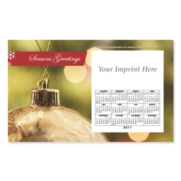 Perforated Postcard Magnet -  Gold Holiday Ornament