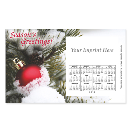 Perforated Postcard Magnet - Snow-Covered Tree & Ornament