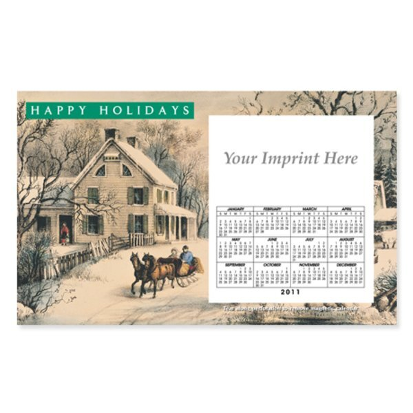 Perforated Postcard Magnet - Holiday Currier & Ives