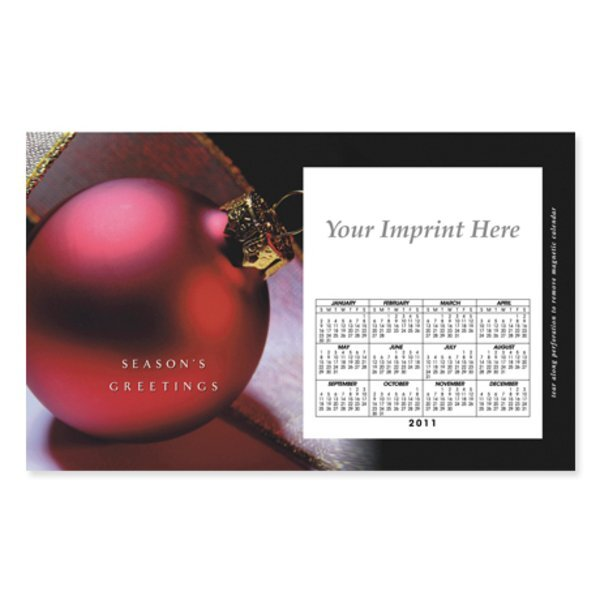 Perforated Postcard Magnet - Holiday Red Ornament