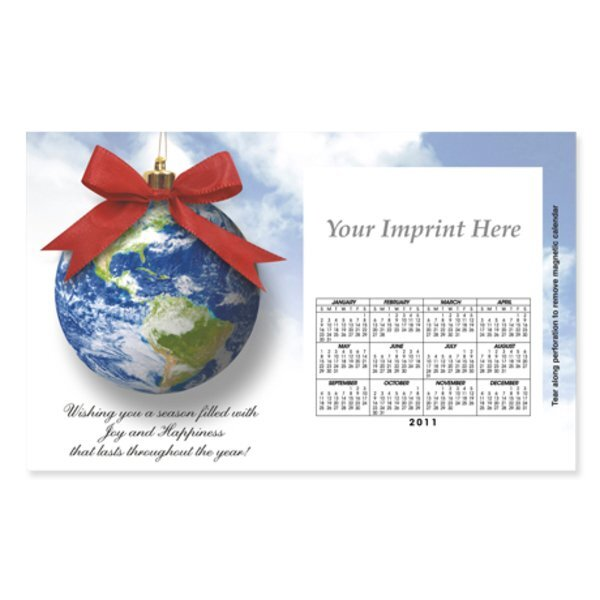 Perforated Postcard Magnet - Earth Ornament