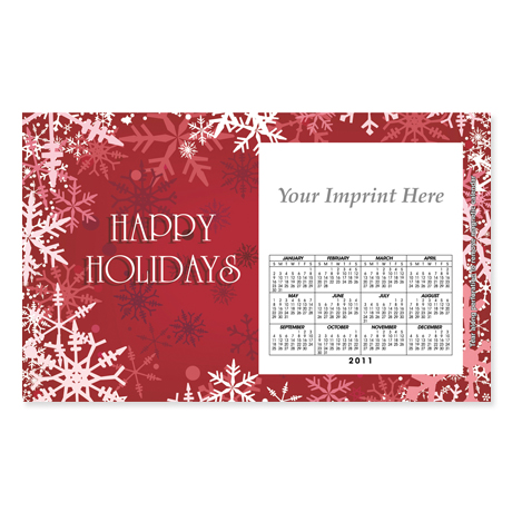 Perforated Postcard Magnet - Red Snowflakes