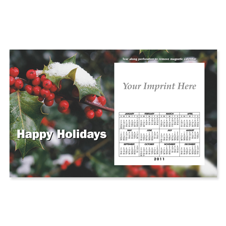 Perforated Postcard Magnet - Holly