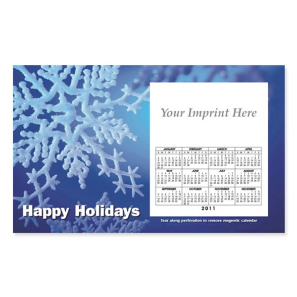 Perforated Postcard Magnet - Blue Snowflakes