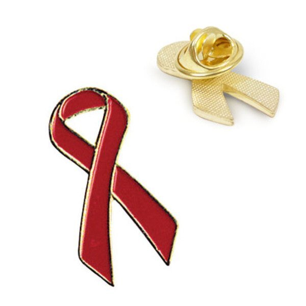 Red Ribbon Lapel Pin