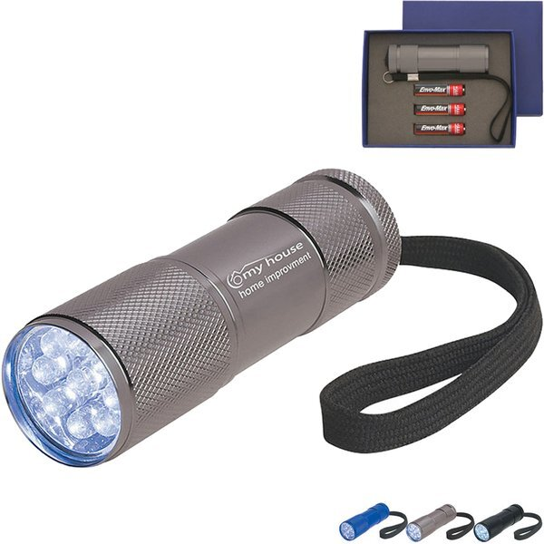 The Stubby 9 LED Aluminum Flashlight with Strap