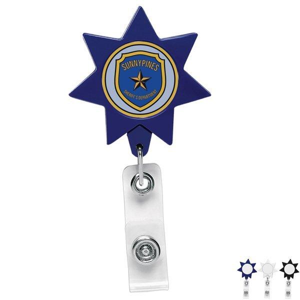 Seven-Point Star Retractable Badge Reel, Alligator Clip
