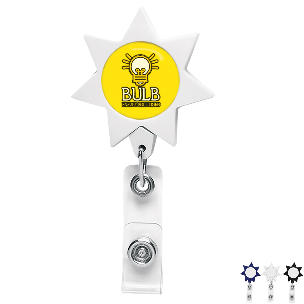 Seven-Point Star Retractable Badge Reel, Alligator Clip