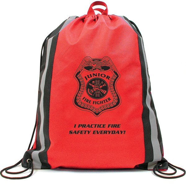 Reflective Stripe Non-Woven Backpack, Fire - Stock